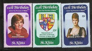 St-Kitts-SC-93-95-Diana-21st-Birthday-Singles-Specimen-MNH