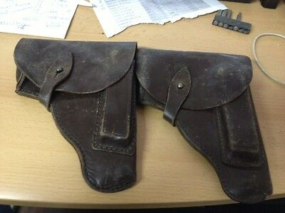 Vintage lot of 2 Military Brown Leather Pistol Gun Holster Makarov USSR