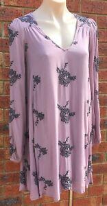 Free-People-Long-sleeve-top-lilac-colour-size-fit-AUS-12-cotton-NWOT-fp44