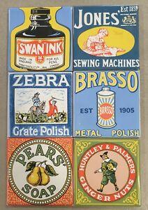 Antique Enamel advertising tiles 10 x 10cm set of 6 designs Brasso Swan Ink Soap