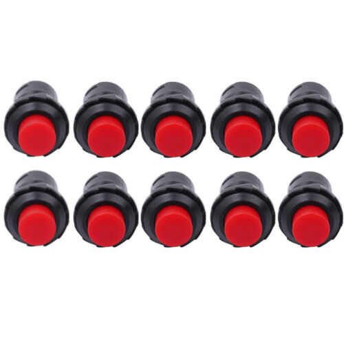 10 Pcs 12mm Red Momentary OFF-ON Push Button Pushbutton Car Boat Lockless Switch
