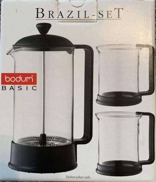 New Bodum Basic Brazil Set French Press 8 Cup Coffee Maker W 2 Gl