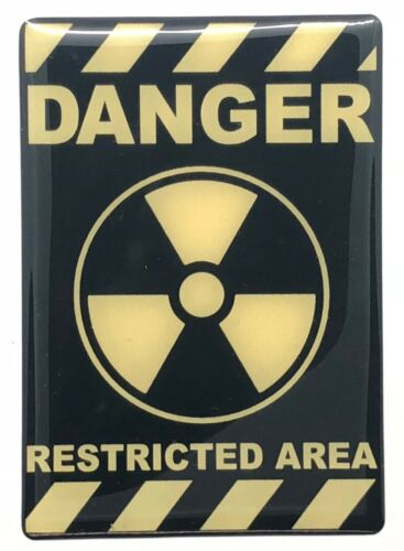Size 80x55 mm. 1x Danger Restricted Area Logo 3D Domed Sticker Yellow Black
