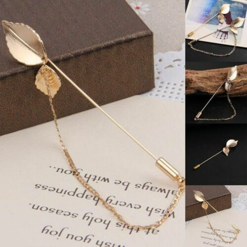 Color Retro Alloy Women Man Fashion Jewelry Collar Suit Pin Leaf Brooch Gift