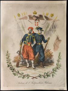1926-Litografia-Francia-Piemonte-Supporto-di-indipendenza-italiana