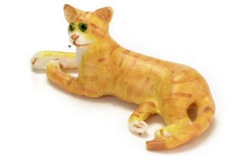 Dolls House Orange Cat Lying Down 1:24 Scale Half Inch Pet
