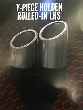 """Twin 3"""" (76mm) OUT 2 1/4"""" (57mm)IN Y-PIECE HOLDEN ROLLED LHS CHROME EXHAUST TIP"""