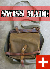 SWISS MILITARY BAG VINTAGE SALT PEPPER ARMY LEATHER bread SHOULDER BIKE PANNIER