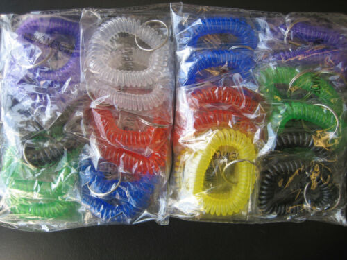 Spiral Wrist Coil Key Chains//New in Sealed Bag//6 Colors 20 Dozen Lot of 240 pcs