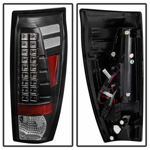 Chevy 02-06 Avalanche Black Housing LED Rear Tail Light Set Brake Lamp