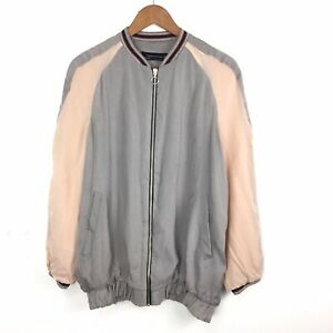 Rare-Sold-Out-Zara-Two-Tone-Silky-Bomber-Jacket-Pale-Grey-Peach-Pink-M-10-12