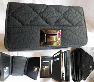 damen portemonnaie gro portmonee geldb rse geldbeutel schwarz gesteppt weich ebay. Black Bedroom Furniture Sets. Home Design Ideas