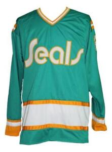 Any-Name-Number-Size-California-Seals-Retro-Custom-Hockey-Jersey-Green-Meloche