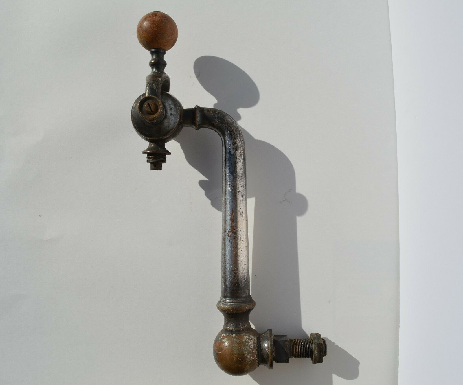 VERY OLD  CHROMED BRASS BEER TAP WITH STONE KNOB ESTATE FOUND