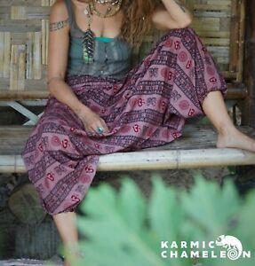 Harem Hippie Pants Pink Yoga Festival Om Ohm Loose Boho Festival Gypsy Aladdin