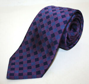 Turnbull-and-Asser-Purple-And-Blue-Checker-Silk-Woven-Tie-Thick-Made-England