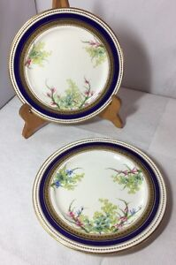 Pretty-Antique-Victorian-Pair-Of-Hand-Painted-Plates-Unmarked-Good-Quality-Old