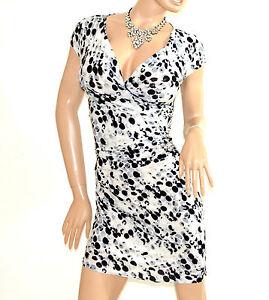 ABITO-BIANCO-NERO-GRIGIO-donna-vestito-manica-corta-pois-scollo-V-dress-E138