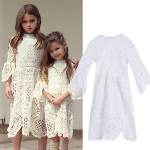 58c5ea96d9077 AU STOCK Baby Kids Girls Dress Toddler Princess Party Lace White ...