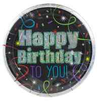 Amscan Round Paper Plates 9in Brilliant Birthday