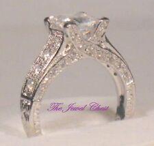 Princess cut Solitaire Diamond Antique Style Engagement Ring White gold Platinum