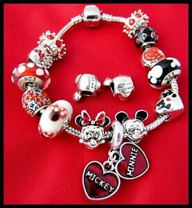 Image Is Loading Mickey Mouse Bracelet Minnie Charms Disney Red Gl