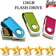 Slim 128GB USB Flash Drive Silver Swivel Memory Bank Memory Stick Pen Drive