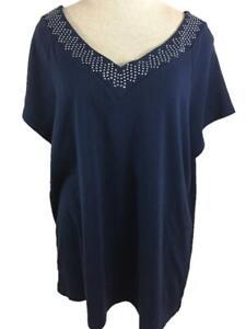 Westport Woman knit top size 3X blue short sleeve beaded V neck cotton 1962