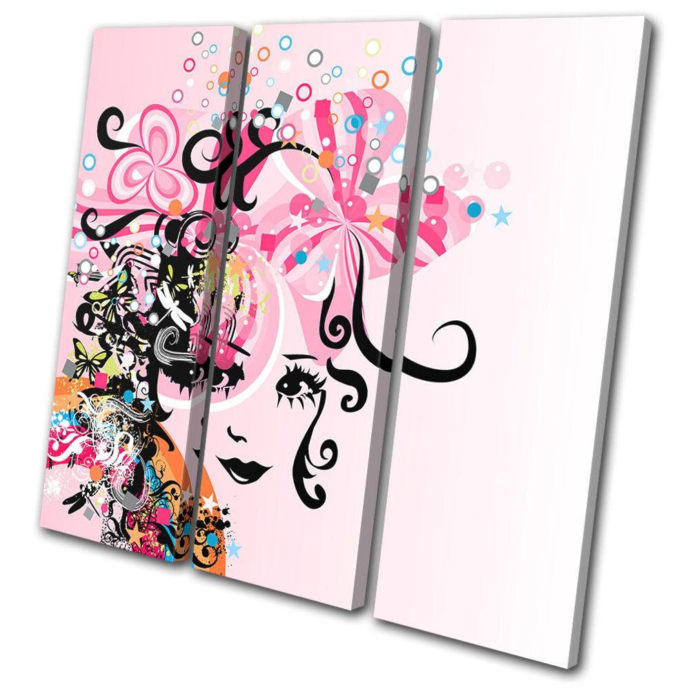 Abstract Floral Portrait Fashion TREBLE TELA TELA TELA parete arte foto stampa b50811