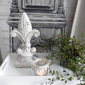 Shabby chic deko ornament franz sische lilie keramik creme grau neu 27 5cm ebay - Franzosische dekoration ...