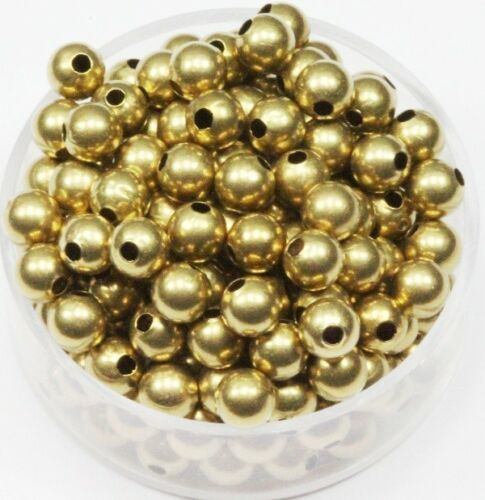 US Seller 500 5 MM Solid Brass Round Seamless Hollow Beads Hole 1.5 MM Pkg