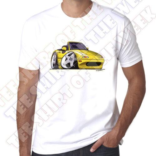 Wickedartz cartoon voiture jaune mazda MX5 mk 1 homme 100/% coton t-shirt blanc