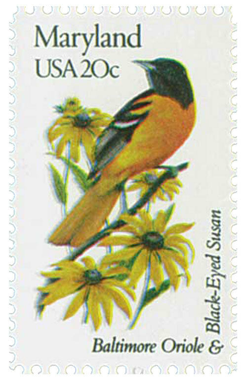 1982 20c State Birds & Flowers, Maryland, Oriole & Susa