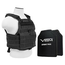 Body Armor Plate Carrier Vest With 2 10X12 Level 3 Ballistic UHMWPE Hard Plates
