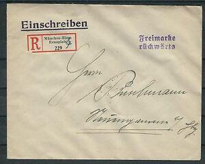 Deutsches reich porto plus équitablement r-Lettre en loyale conservation à partir de Munich-afficher le titre d`origine VvcsvRce-07161825-261220272
