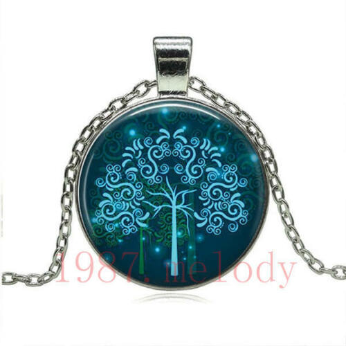 Vintage Cabochon Glass Necklace Silver fashion pendants(Tree of life)/&570