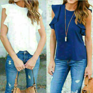 Fashion-Summer-Women-Chiffon-Short-Sleeve-Casual-Shirt-Tops-Blouse-T-Shirt