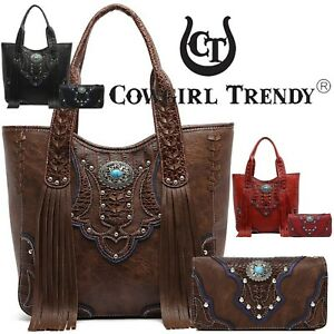 Image is loading Western-Style-Concealed-Purse-Fringe-Totes-Handbag-Women- 1dd4adaf56b68