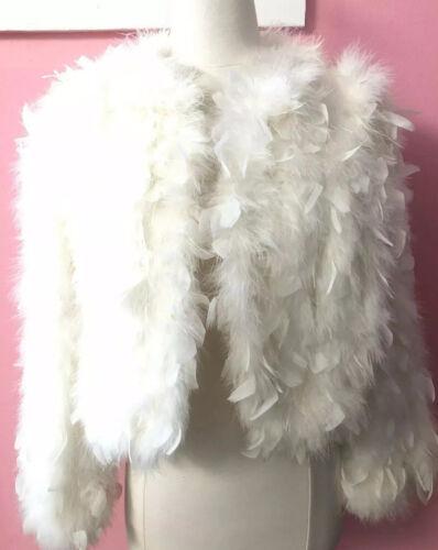 Vintage White Feather Marabou Fur Jacket Coat  70s