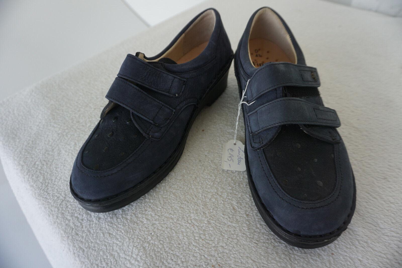 Finn Comfort Lindau shoes Velcro M Insoles Size 4,5 37,5 Navy Nubuck Leather New