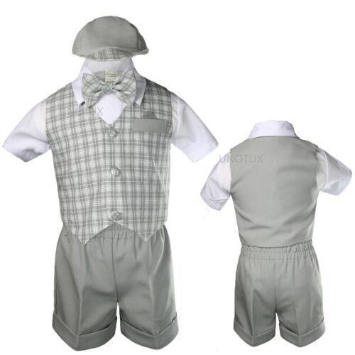 Gray Baby Boy Infant Toddler Formal Party Gingham Shorts Vest Suit sz S-XL 2-4T