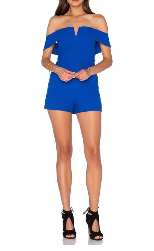 J.O.A. OF THE SHOULDER ROMPER IN ROYAL blueE SZ M