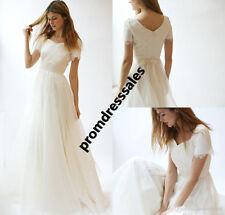 Modest Short Sleeve Beach Wedding Dress Bohemian A Line Bridal Gown Custom Size
