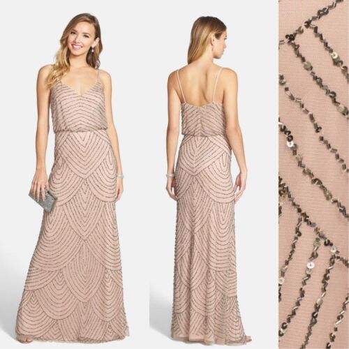 2 8 10 12 16 NWT Adrianna Papell Embellished Blouson Gown Taupe Pink #N142