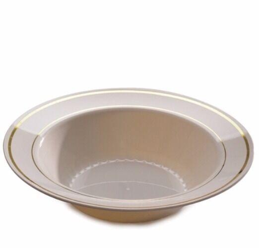 150 ct 12 oz Soup Bowls Masterpiece Style Bone-Gold Rim Disposable Plastic