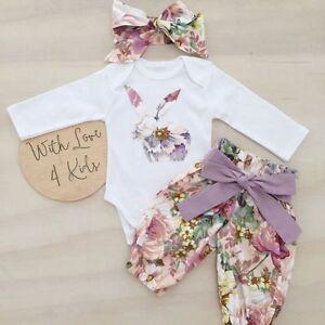 1e9c3618798d Details about Newborn Baby Girl Easter Bunny 3pcs Clothes Romper Tops Floral  Pants Outfits Set