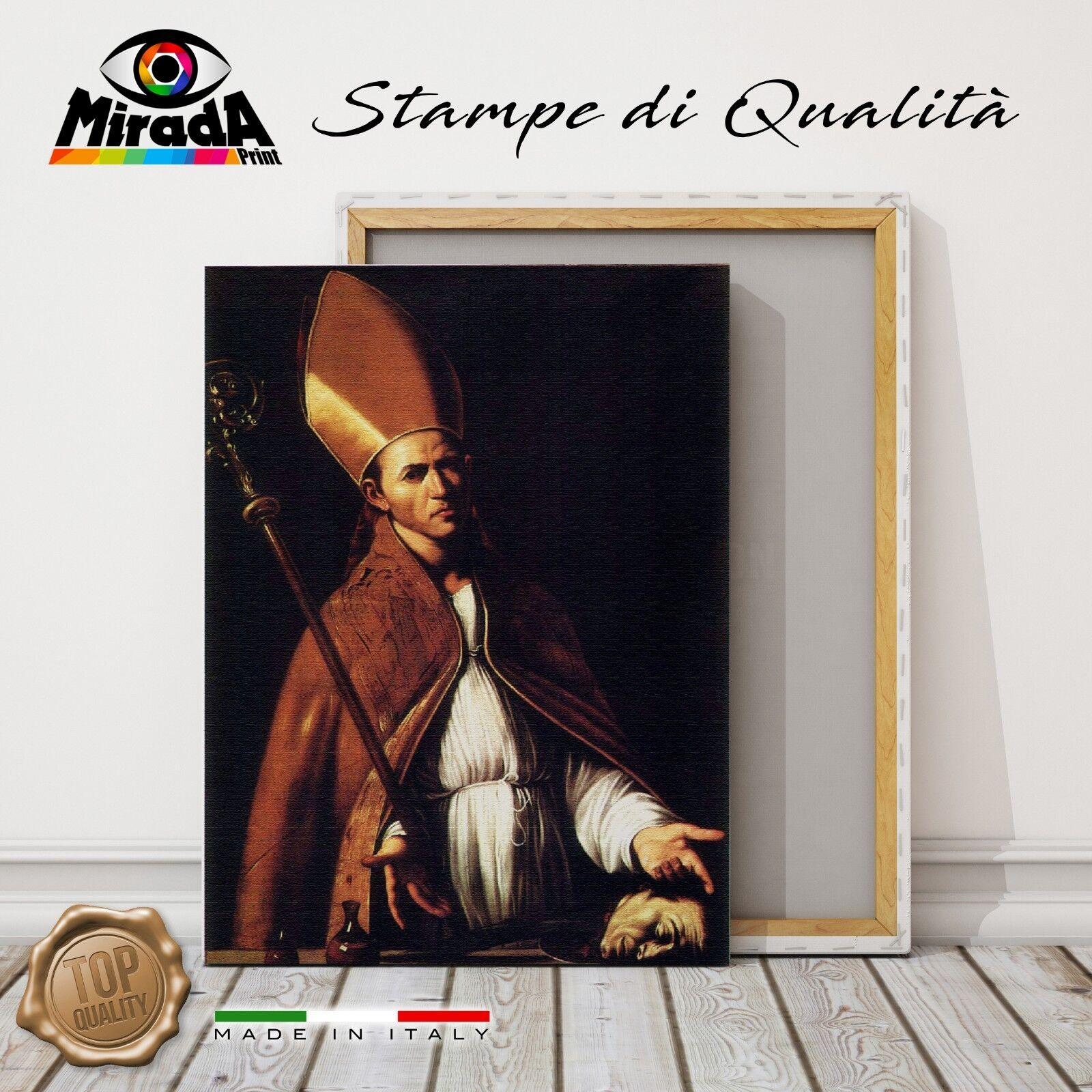 QUADRO Caravaggio San Gennaro Napoli sangue STAMPA TELA CANVAS PREGIO FINE ART