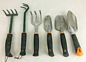 Lot of (6) Fiskars Gardening Hand Tools - Rakes, Cultivator, Spade Shovels