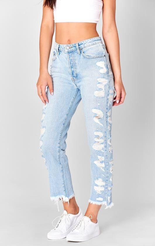 LF carmar light wash high rise side shredded crop denim jeans NWT sz 28