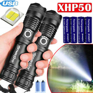 Details about  /2X Powerful XHP50 Flashlight Torch 5-Modes LED Zoomable USB Rechargeable Lights